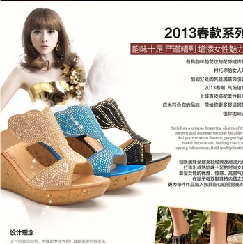 New sexy high heeled wedges shoes leisure and elegant casual rheinestones women