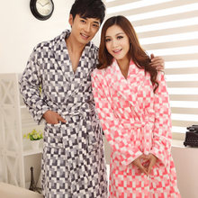 wholesale autumn and winter cute flannel plaid men's&&women's robe long sleeve coral fleece love couple sleep bathrobe(China (Mainland))