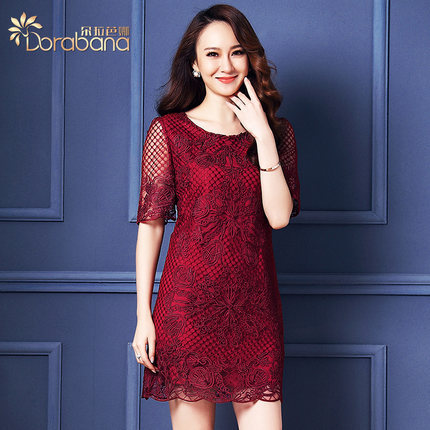 Free shipping 2015 Summer wear new style European Women's clothing mesh Embroidery dress J01264(China (Mainland))