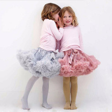 Buenos Ninos Girls Fluffy 2-18 Years Chiffon Pettiskirt Solid Colors tutu skirts girl Dance Skirt Christmas Tulle Petticoat(China (Mainland))