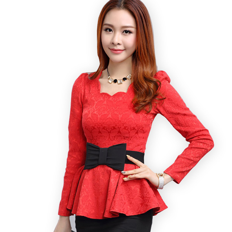 new 2014 spring fashion women lace blouse casual tops