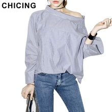 CHICING Sexy Off The Shoulder Blouses 2016 Summer Women Striped Slash Neck Side Buttons Flare Sleeve Casual Shirt Tops B1603026(China (Mainland))