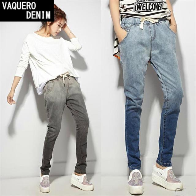 Горячая распродажа 2015 джинсовые женские брюки для бега свободного покроя с эластичным ...