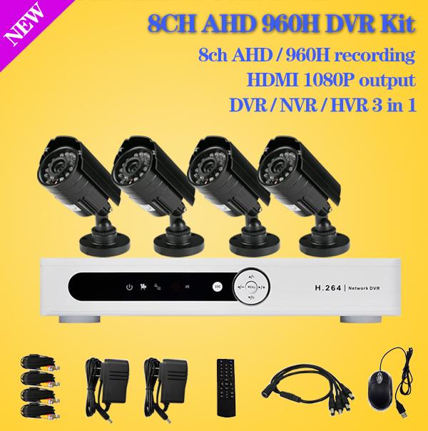 Free shipping Home CCTV 8CH DVR AHD 960h D1 recording 4PCS IR Outdoor Waterproof CCTV Camera Security System Surveillance Kits