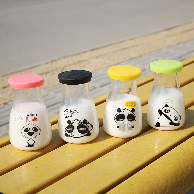 2015 Cute kids microwave heating directly milk glass bottle cups with lids easy carry 400ml Children Nutrition liquid bottle(China (Mainland))