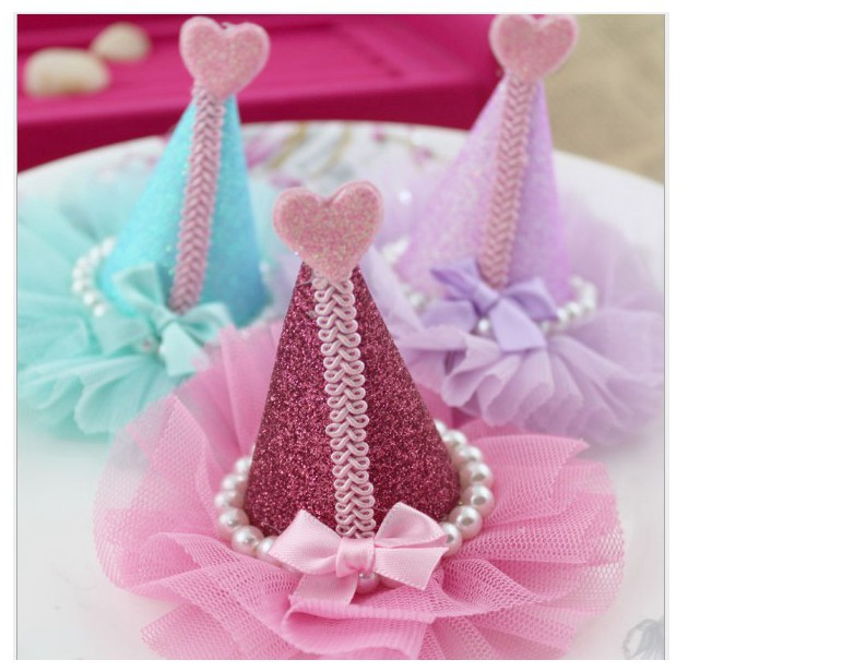9cm princess crown glitter grown with tulle DIY clip headband Hair Accessories 6 colors D0056S