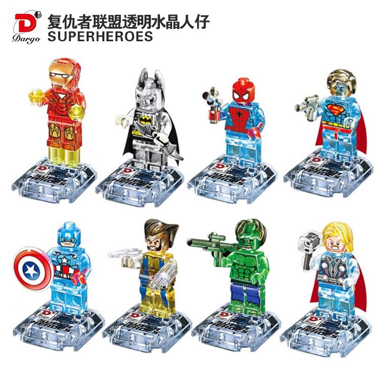 DHL Wholesale 60Lot Dargo Building Block Super Heroes Avengers Minifigure Crystal Transparent Batman/Iron Man/Hulk/Thor/Superman<br><br>Aliexpress