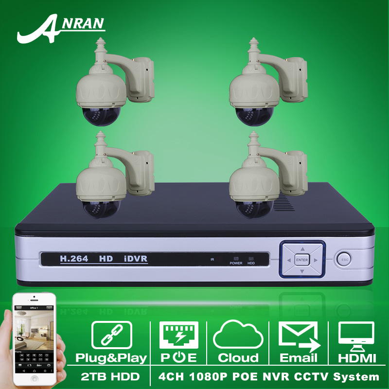 Plug And Play 4CH NVR POE CCTV System 2TB HDD Onvif 1080P HD Email Alarm IR Pan Tilt POE IP Camera Security Surveillance Kit(China (Mainland))