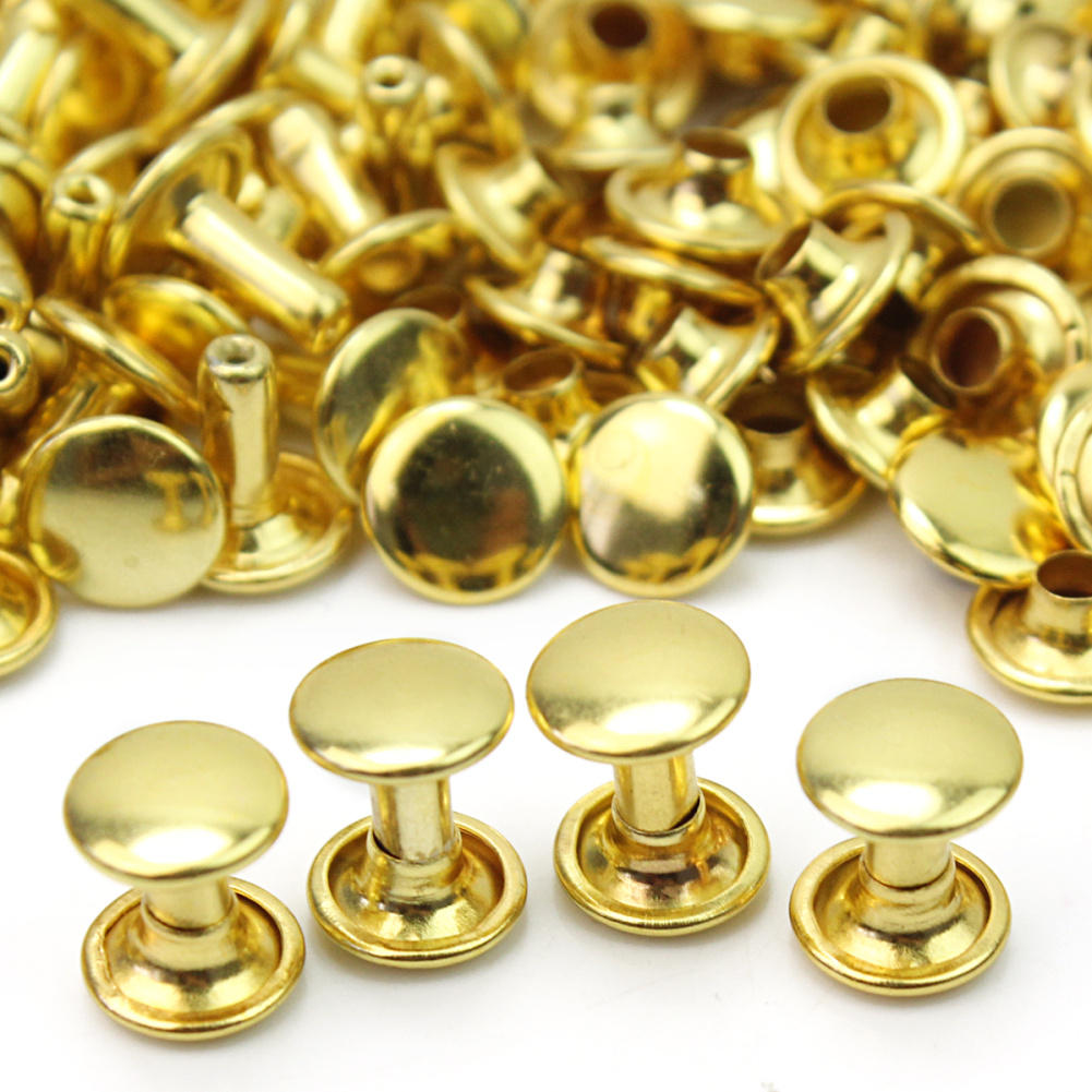 100 Pcs Gold Color Round Flat Rivets Copper Round Flat Spikes Studs Rivets Screwback Spots Shoes Leather Craft Decorations DIY(China (Mainland))