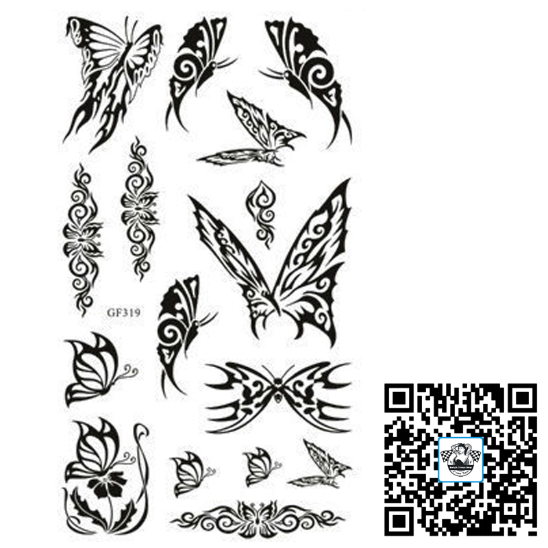 Freeship 6pcs lot gf319 butterfly temporary shoulder for Fake neck tattoo