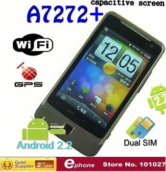MTK6513 unlocked phone  Android 2.2 WiFi  capacitive screen GPS phone 3.5 inch A7272+ android  Mobile phone