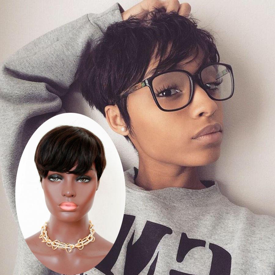 Bob Cut Wig Brazilian Hair Short bob wigs For Black Women Lace Wigs With Bangs Human Hair Pixie Wigs(China (Mainland))