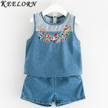 Buy Keelorn Girls Clothing Sets 2017 New Fashion Summer Kids Clothes Sleeveless top+shorts Children Denim Clothes Baby Girls for $9.34 in AliExpress store
