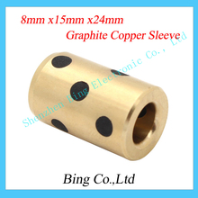 DIY 3d printer parts 8mm x15mm x24mm 8mm bearing self-lubricating oilless bearing composite c copper sleeve for 8mm linear shaft