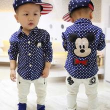 2016 Autumn New Brand Children'S Clothing Kids Boys Shirts Long Sleeve With Collar Lovely Cartoon Mickey Polka Dot Shirts Bebes