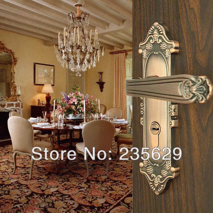 Free Shipping, Antique Brass finished lock, Bedroom, Bathroom, Kitchen Door Lock, 35-45mm door thickness,double bolts, 3 keys<br><br>Aliexpress