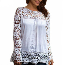 New Fashion Women Multicolor Crochet Lace Shirt Female Floral Lace Long Sleeve Chiffon Blouse Lace Plus Size S-5XL