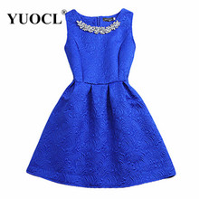 Size S-2XL 2016 New Spring Summer Autumn Women O-neck Sleeveless Solid Color Appliques Ball Gown Base Dresses Vestidos Sundress(China (Mainland))