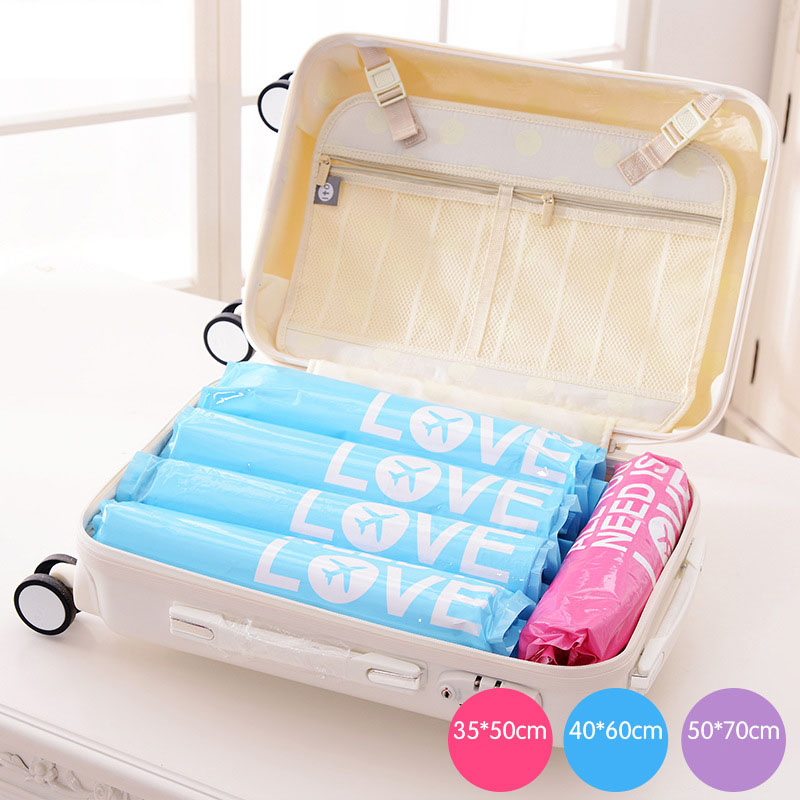 Hot Sale 3 size New Compressed Space Vacuum Seal Saver Storage Travel Bag Compression bag Space Saver High Quality KT0075(China (Mainland))