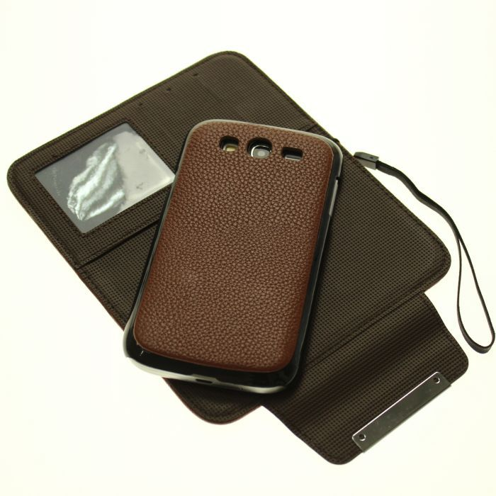 2 1 Vintage litchi Pattern 100% Genuine Leather flip wallet case Samsung Sansung Galaxy grand duos i9082 card slot Cover - Primary league store