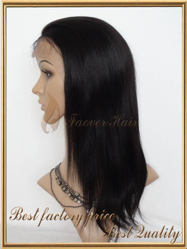 Promotion!!2015 New Brazilian Full Lace Human Hair Wigs Lace Front Wig Natural Straight Wigs for Black Women Wholesale Price(China (Mainland))