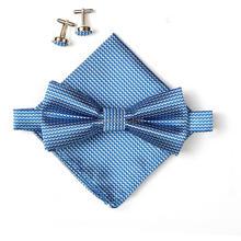 2016 Hot sell men's neck ties set bow tie hanky cufflinks butterfly Pocket square