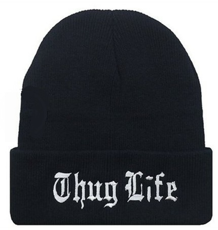 THUG LIFE Black Letter Hat Unisex Fashion Hip Hop Hat Cap Men Beanies Knitted Hats for
