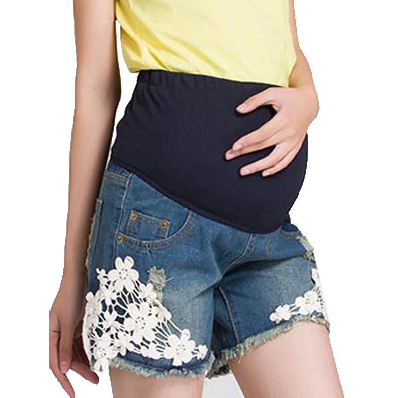 Denim Maternity Short Pregnancy Pants Summer Shorts For Pregnant Women Gravidas Clothing Lace Clothes Gestante Maternidade(China (Mainland))