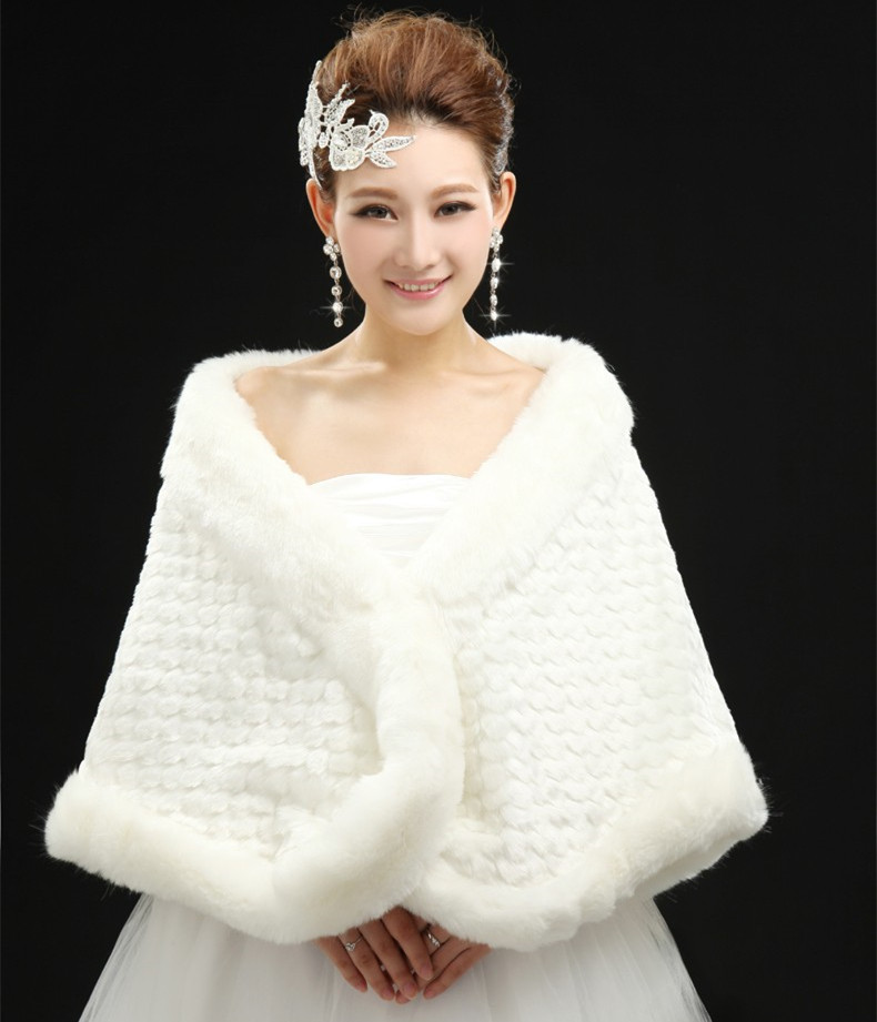 2016 Fashion Elegant High Quality Warm Faux Fur Ivory Bolero Wedding Wrap Shawl Bridal Jacket Coat Accessories Pearl OJ10288(China (Mainland))