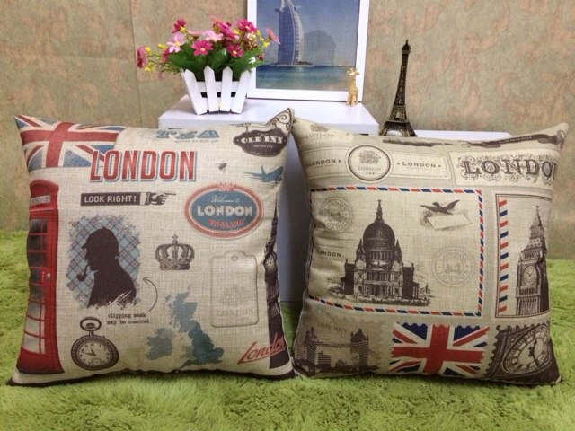 European Style Retro London Cotton Linen Pillow Back Cushion Home Furnishing Bedding Decoration Free Shipping(China (Mainland))
