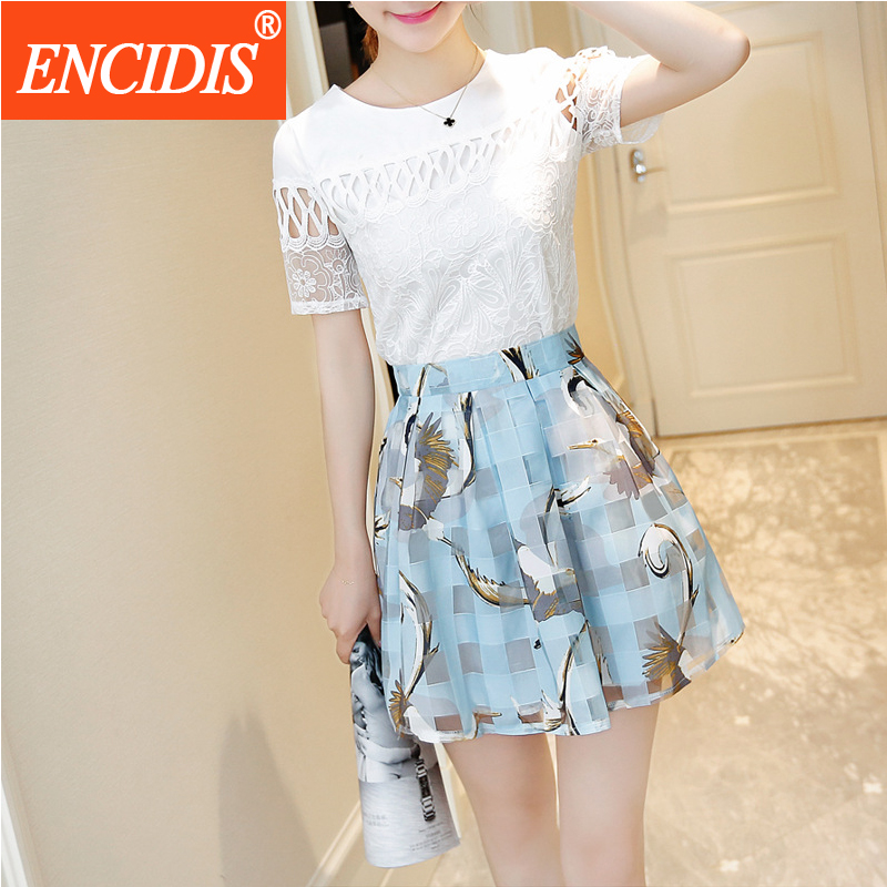 2 Piece Set Summer Dress Lace Print Women Fashion Korean font b Plaid b font Elegant