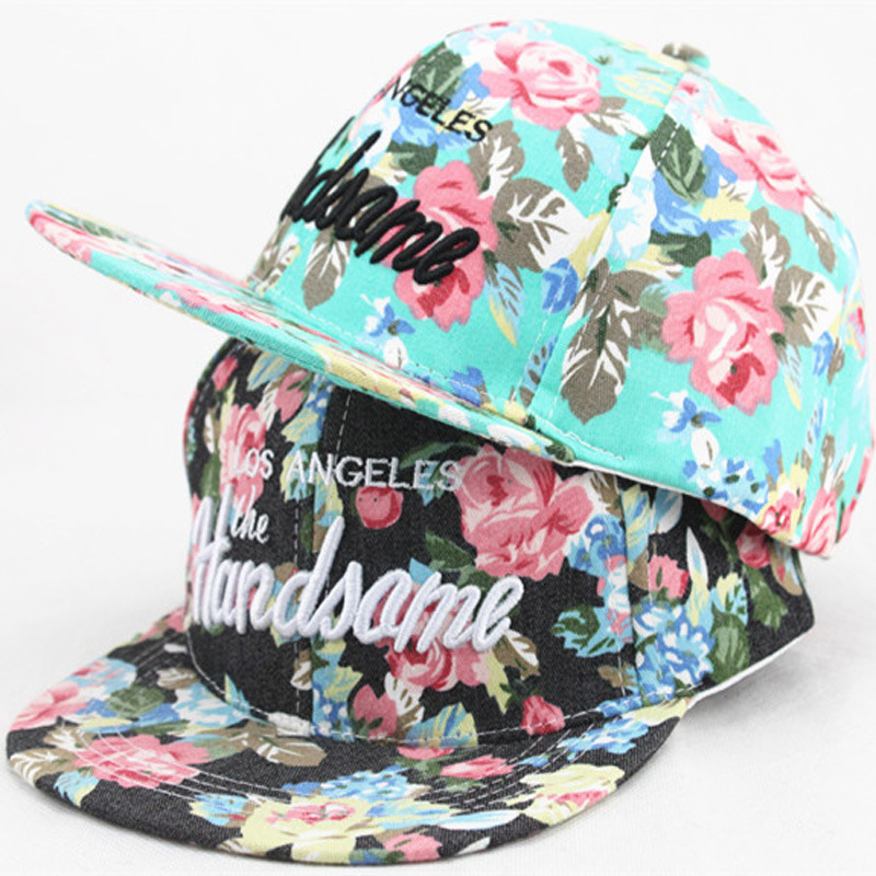 New Children Colorful flowers Snapback Flat along the Hat Baseball Cap Hip Hop Hats Fit 3-10 Years(China (Mainland))
