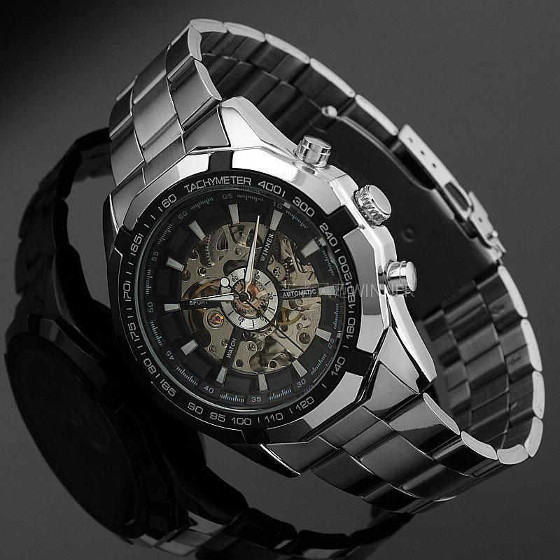 Hot 2016 Winner Luxury Brand Luxury Sport Men Automatic Skeleton Mechanical Military Watch Men full Steel