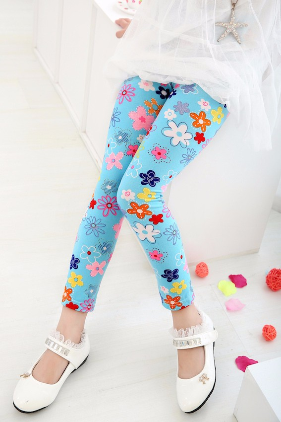 New 2016 Autumn Baby Girl Cute Blue Pink Flower Legging Kids Flower Leggin Children Soft Pants Girls Skinny Trousers(China (Mainland))