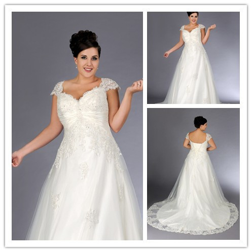 Designer cap sleeves sweetheart court train lace plus size for Couture plus size wedding dresses