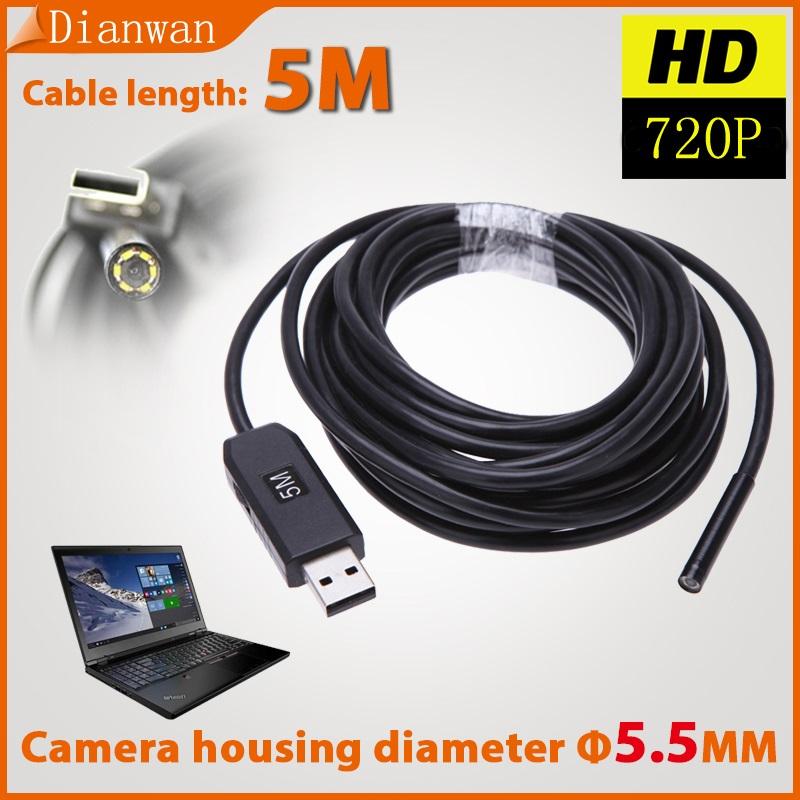 5.5mm Endoscope IP67 Waterproof Borescope USB 2.0 Inspection Video Camera 6 LED Inspection Borescope Camera Tube 5M(China (Mainland))