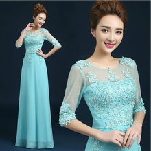 New Fashion High Neck Silk Chiffon Formal Long Design Medium Sleeves Party Gown Elegant Lace Evening Dresses Z201718(China (Mainland))