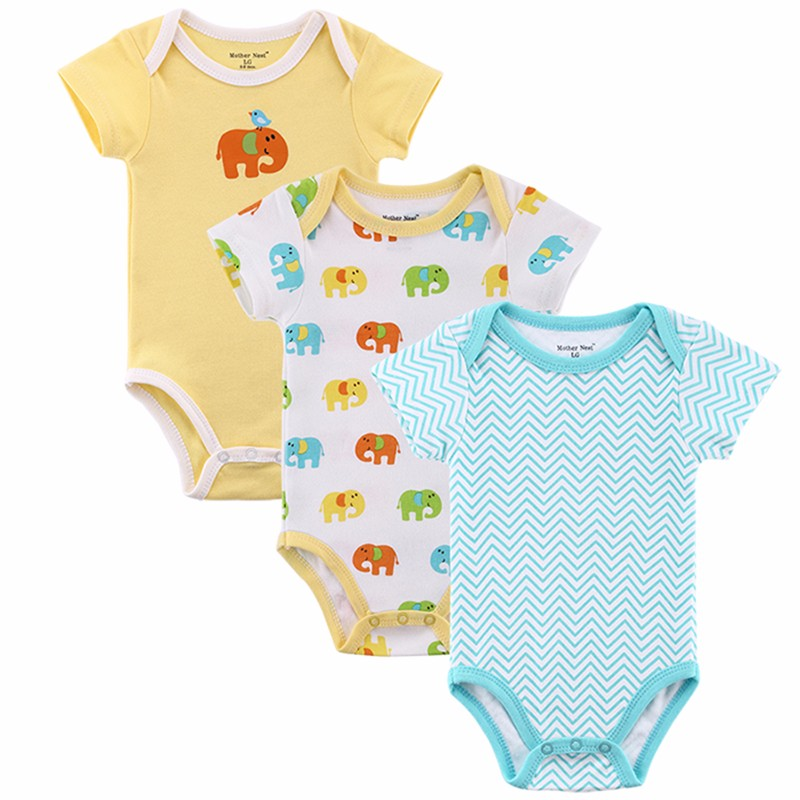 3 Pieceslot Fantasia Baby Bodysuit Infant Jumpsuit  Overall Short Sleeve Body Suit Baby Clothing Set Summer Cotton (7)