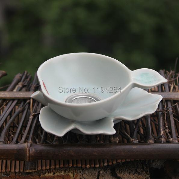 Leaves Pattern Ru Kiln Celedon Handmade Ware Mesh Strainer Filter Gongfu Tea
