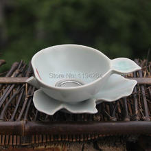 Leaves Pattern,Ru Kiln Celedon Handmade Ware Mesh Strainer & Filter Gongfu Tea