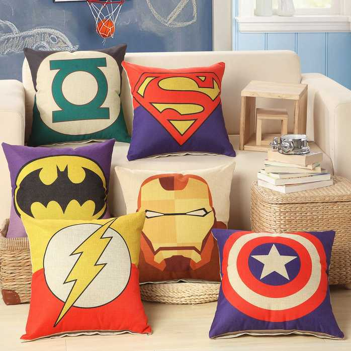 Free Shipping New 2015 Justice League Superman Batman Captain America Car Cotton Pillow Cover / Cushion Cover Home Decoration(China (Mainland))