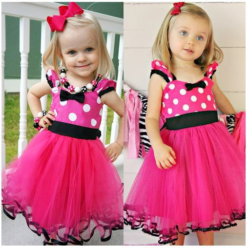 2015 Real Baby Boutique Smocked Hot Rosy Minnie Mouse Dress Polka Dot Tutu Birthday Girl Outfit Twirl Photography Prop Costume(China (Mainland))