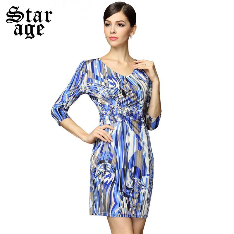 M-XXXL Brand Elegant Crystal Beaded Geometric Print Knee Length Dresses 2016 Spring Summer Plus Size Women Clothing 8095(China (Mainland))