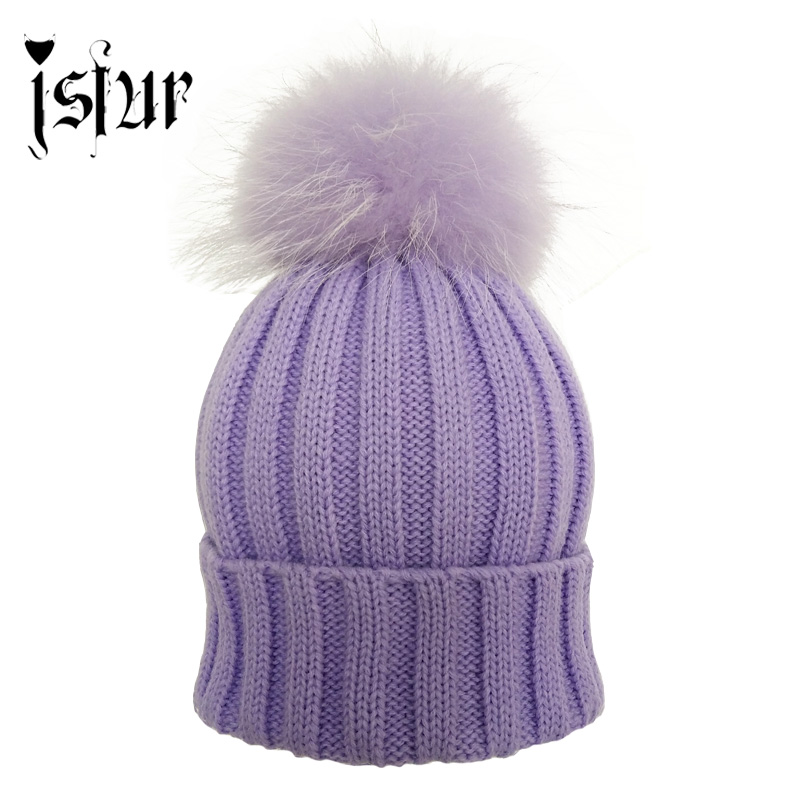 JS FUR Design Warm Winter Wool Blend Knitted Women Hats and Caps with Matching Color Real Raccoon Fur Pom Pom Beanie Hat for Men(China (Mainland))