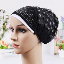 2016 новинка исламские платки палантины хиджаб шапки женские мусульманин включено Cap хрустальный цветок мусульман шляпа