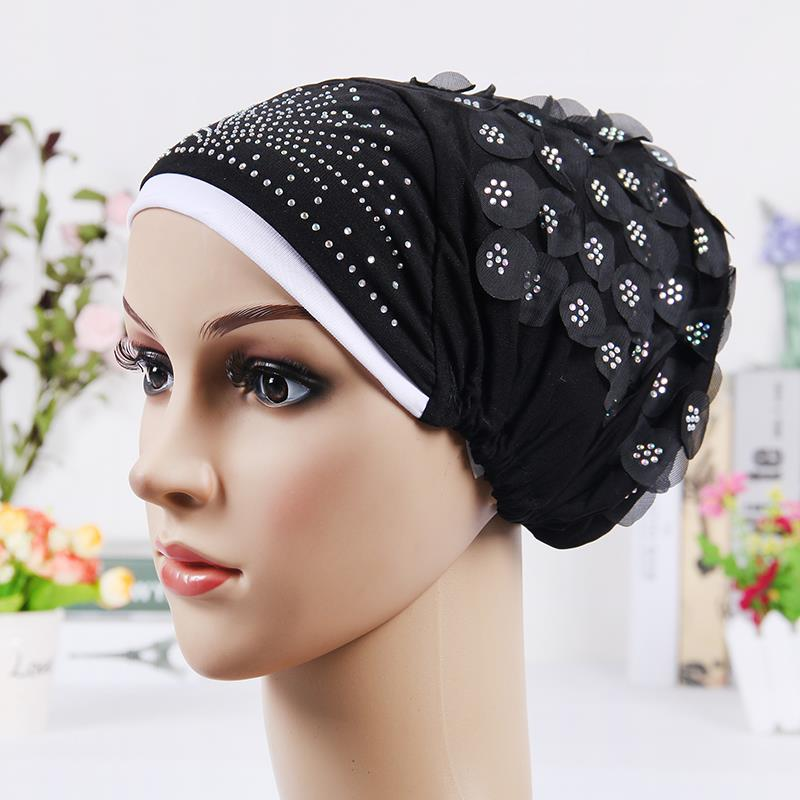 2016 New Design Islamic Scarves Wraps Hijab caps Womens Muslim Inclusive Cap Crystal Flower Muslims Hat(China (Mainland))