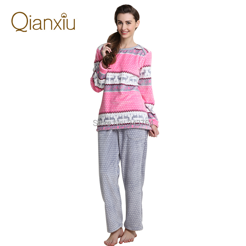 Qianxiu Brand Pajamas Winter Women Homewear Flannel Thicken Soft Pajama Set Free Shipping(China (Mainland))
