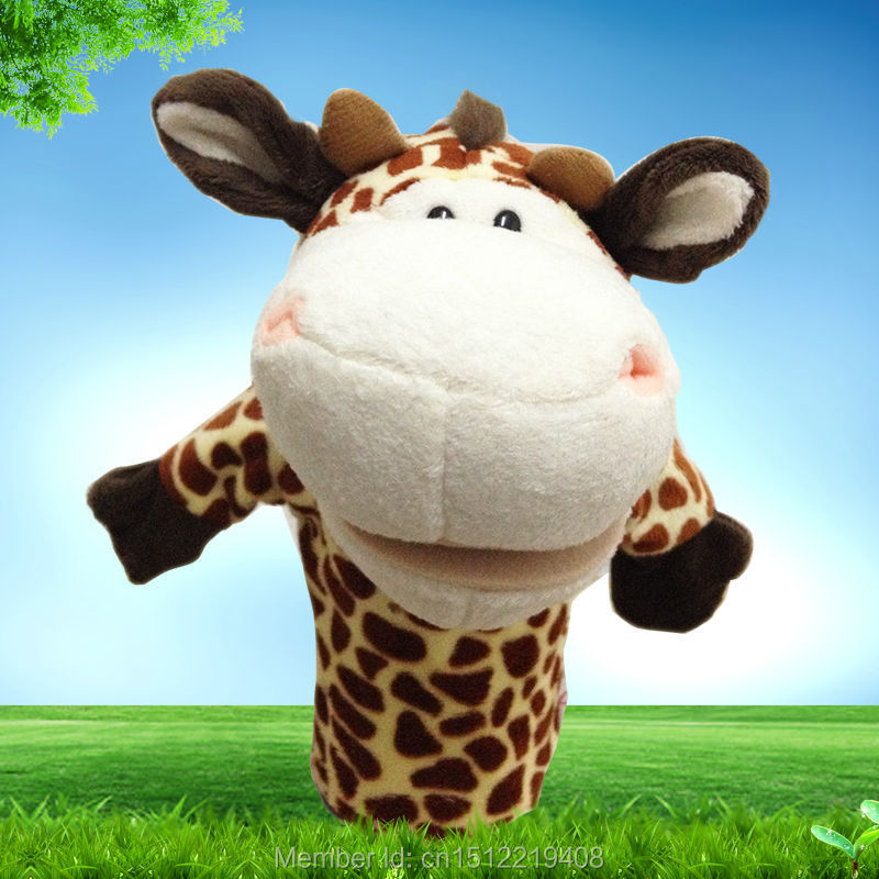 1pc Lovely Kids Baby Favor Plush Sika deeR Hand Puppets Farm Animals Learning & Education Aid Toys Story Telling Free Shipping(China (Mainland))