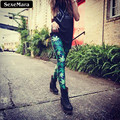 SexeMara Fashion Green Maple Leaf Style Colorful Casual Summer Gothic Leggings Interest Print Sports Leggings Sexy