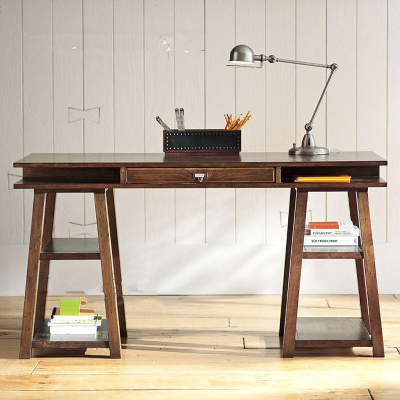 Vintage wood puter desk desk bookcase simple desktop